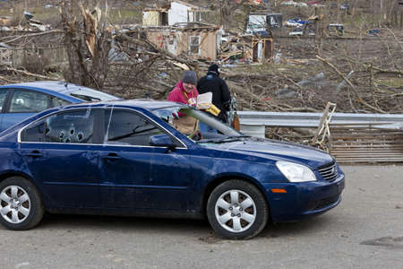 Henryville, IN - March 4, 2012: Aftermath of category 4 tornado that touched down in town on March 2, 2012 in Henryville, IN. 12 deaths and massive loss of property were reported in Indiana  Stock Photo - 12489291