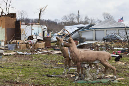 Henryville, IN - March 4, 2012: Aftermath of category 4 tornado that touched down in town on March 2, 2012 in Henryville, IN. 12 deaths and massive loss of property were reported in Indiana  Stock Photo - 12489289