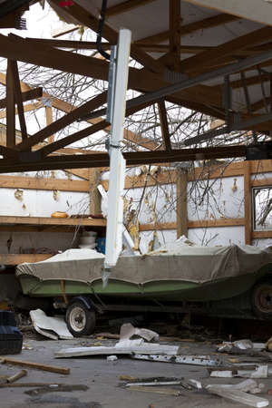 Henryville, IN - March 4, 2012: Aftermath of category 4 tornado that touched down in town on March 2, 2012 in Henryville, IN. 12 deaths and massive loss of property were reported in Indiana  Редакционное