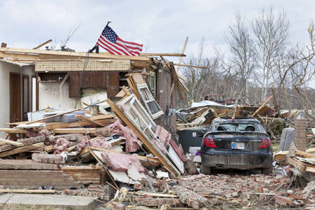 home destruction: Henryville, IN - March 4, 2012: Aftermath of category 4 tornado that touched down in town on March 2, 2012 in Henryville, IN. 12 deaths and massive loss of property were reported in Indiana  Editorial