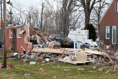 Henryville, IN - March 4, 2012: Aftermath of category 4 tornado that touched down in town on March 2, 2012 in Henryville, IN. 12 deaths and massive loss of property were reported in Indiana  Editorial