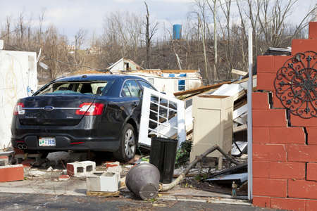 Henryville, IN - March 4, 2012: Aftermath of category 4 tornado that touched down in town on March 2, 2012 in Henryville, IN. 12 deaths and massive loss of property were reported in Indiana  Stock Photo - 12532229