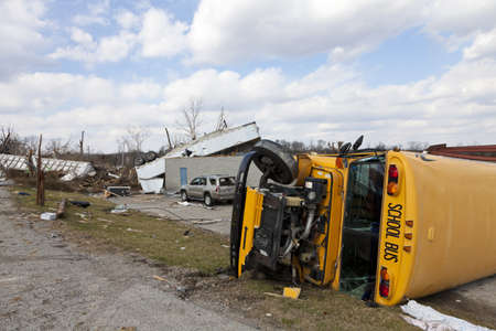 flipped: Henryville, IN - March 4, 2012: Aftermath of category 4 tornado that touched down in town on March 2, 2012 in Henryville, IN. 12 deaths and massive loss of property were reported in Indiana  Editorial