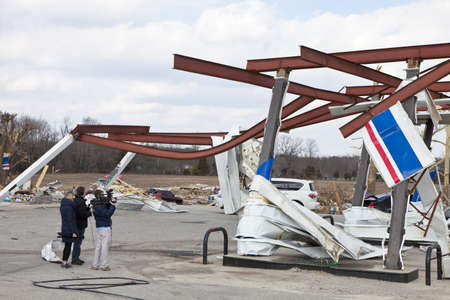 touched: Henryville, IN - March 4, 2012: Aftermath of category 4 tornado that touched down in town on March 2, 2012 in Henryville, IN. 12 deaths and massive loss of property were reported in Indiana  Editorial