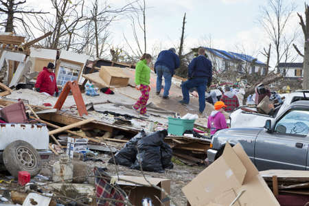 Henryville, IN - March 4, 2012: Aftermath of category 4 tornado that touched down in town on March 2, 2012 in Henryville, IN. 12 deaths and massive loss of property were reported in Indiana  Stock Photo - 12531779
