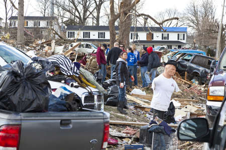 reported: Henryville, IN - March 4, 2012: Aftermath of category 4 tornado that touched down in town on March 2, 2012 in Henryville, IN. 12 deaths and massive loss of property were reported in Indiana  Editorial