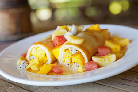 Fruit filled crepes