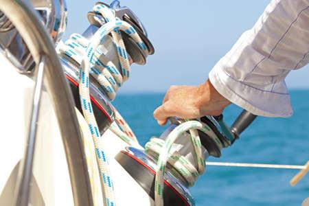 chrome man: Sailboat winches Stock Photo