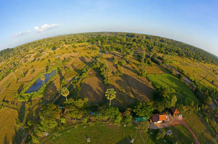 Cambodian countryside with Angkor Wat on horizon photo
