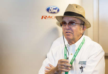 roush: Indianapolis, IN - July 29: Brickyard 400 NASCAR Sprint Cup Series race at Indianapolis Motor Speedway July 29, 2012 in Indianapolis, IN. Jack Roush, CEO and co-owner of Roush-Fenway racing  talks to the race fans. Editorial