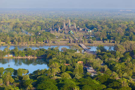 heritage protection: Aerial view of Angkor Wat