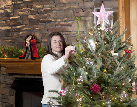 decorating christmas tree: Decorating Christmas tree