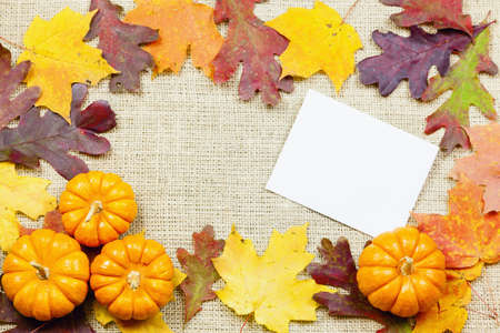 Fall-themed background of burlap, dry leaves and pumpkins photo