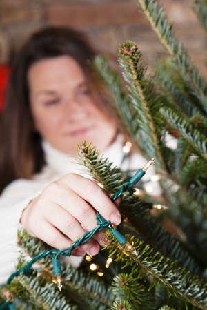 decorating christmas tree: Decorating Christmas tree
