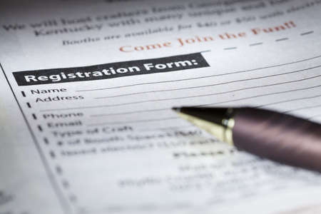 Registration form Stockfoto