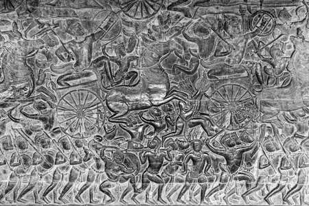 bas: Bas-relief of a battle scene in Angkor Wat, Cambodia Editorial