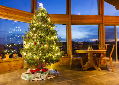 modern: Christmas tree in modern home Stock Photo