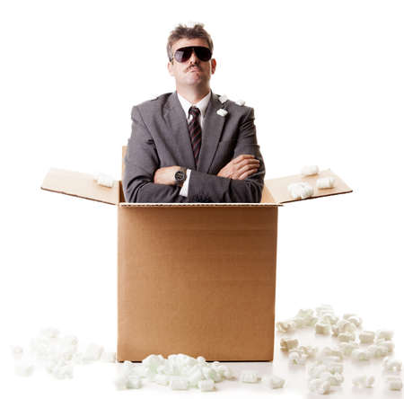 man nuts: Businessman out of the box