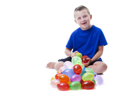 wet t shirt: Boy with water balloons