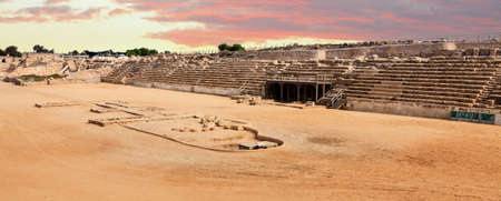 chariot: Chariot race track in Caesarea, Israel Stock Photo