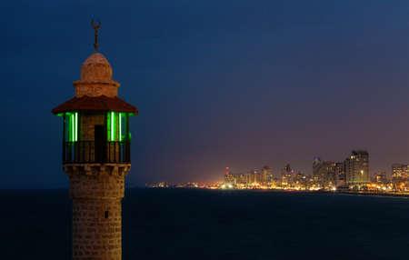 dark skies: View of Tel Aviv at night from Yaffa Stock Photo