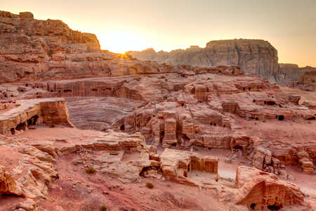 empty tomb: Sunset at Petra Stock Photo