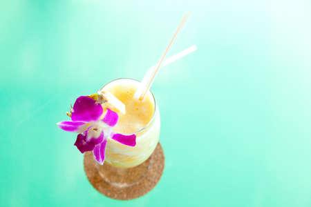 aqua flowers: Pineapple smoothie Stock Photo