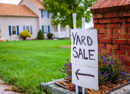 Closeup image of a yard sale sign Stock Photo