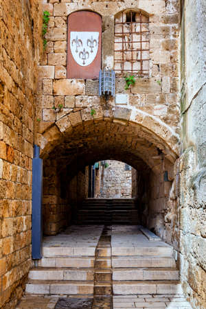 acre: A medieval street in the city of Akko (Acre), Israel Editorial