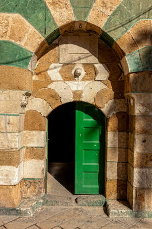 acre: An ornate doorway in a street of Akko (Acre), Israel Stock Photo