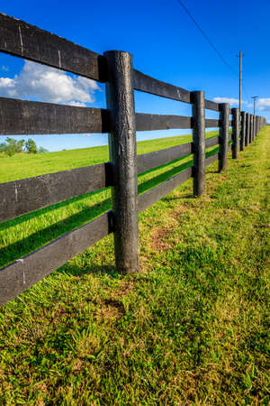 creosote: Image of a straight black horse farm fence