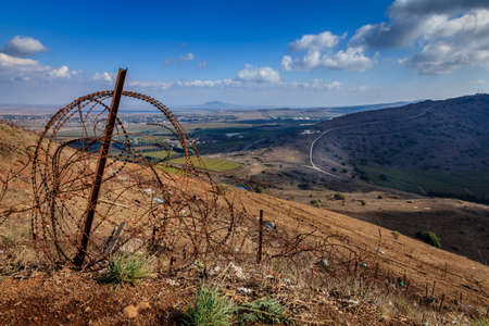 golan: Border between Israel and Syria in Golan Heights  Stock Photo