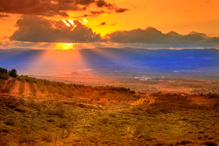 the golan heights: Golan Heights in Israel at sunset Stock Photo
