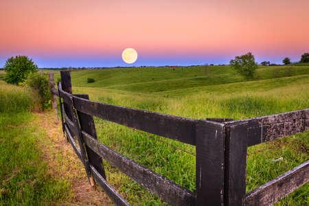 Moonrise in green field