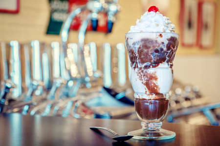 bar counter: Hot fudge sundae Stock Photo