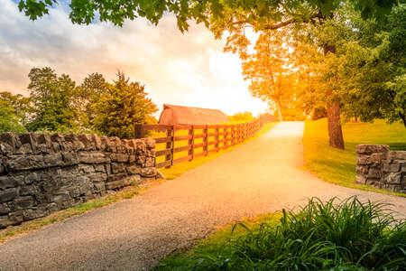 Scenic steegje in Kentucky platteland in de zomer Stockfoto