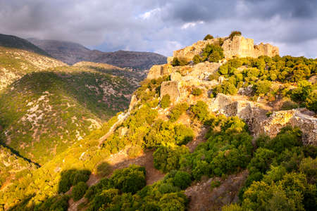 golan: Fortess Nimrod in northern Golan Heights in Israel Stock Photo