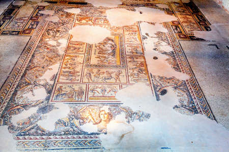 ancient israel: Fragments of mosaic floor in Tzippori National Park in Israel
