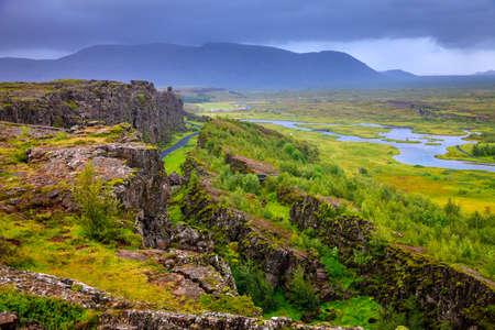 Thingvellir National Park rift valley in Iceland