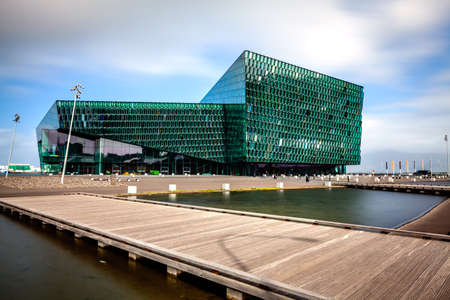 REYKJAVIK, ICELAND - AUGUST 31, 2013  Harpa concert hall in Rejkjavik, Iceland  Harpa was opened on May 13, 2011  It was selected as Best Performance Venue 2011 by Travel   Leisure magazine Editorial