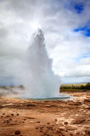 Eruption of Geysir - a geyser in southwestern Iceland