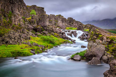 River in Thingvellir National Park rift valley in Iceland