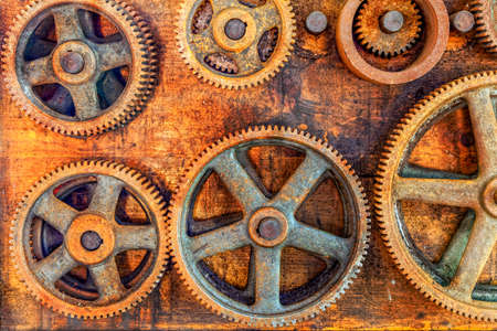 abandoned factory: Gears in an abandoned workshop Stock Photo