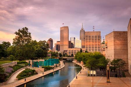 Indianapolis skyline at sunset photo