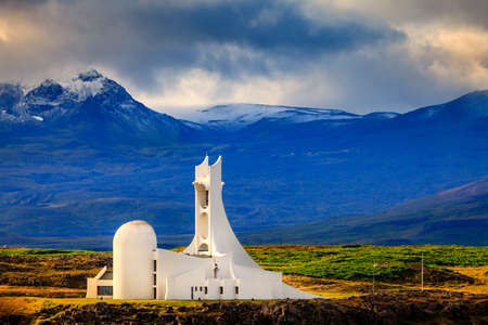 Modern church in the town of Stykkisholmur in Iceland
