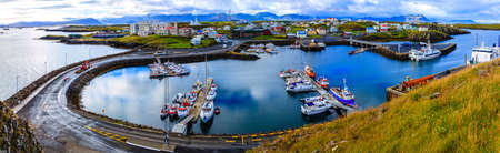Town of Stykkisholmur and the harbor in western Iceland