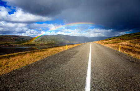 curve road: Scenic road through Westfjords in Iceland during rain