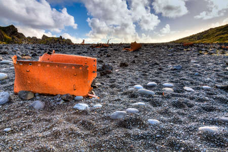 remnants: Forty years-old shipwreck on a beach on Snaefellsnes Peninsula in western Iceland