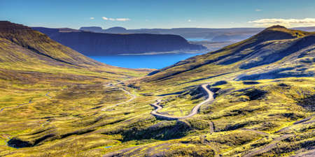 Scenic view of Westfjords in Iceland with a winding road Reklamní fotografie - 33269534