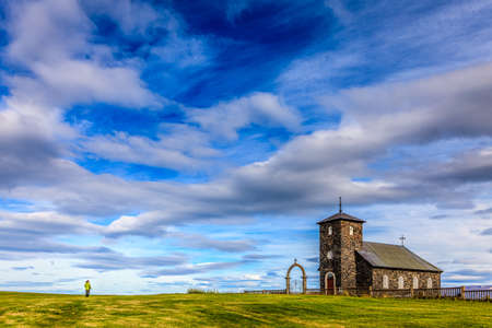 An old stone church in Northwest Iceland. Built in 1877 Stock Photo